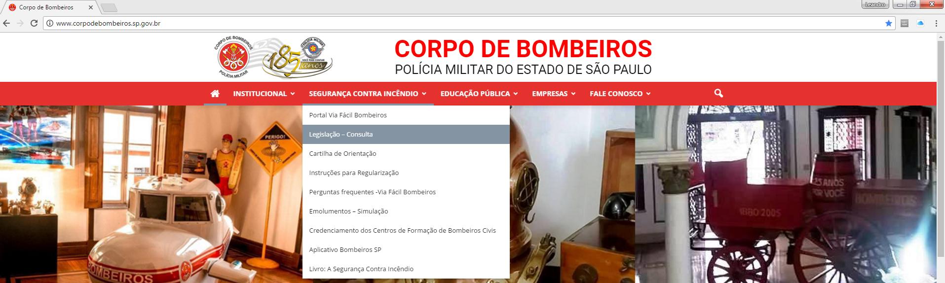 Imagem Site Corpo de Bombeiros Estado de São Paulo